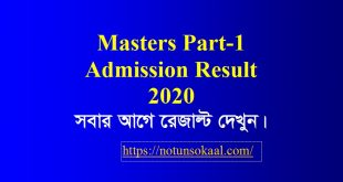 Masters Part 1 Admission Result 2020